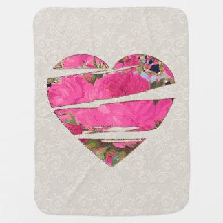 Pink Cabbage Roses Motif Receiving Blanket