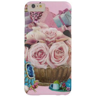 Pink Cabbage Roses with Turquoise Barely There iPhone 6 Plus Case