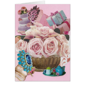 Pink Cabbage Roses with Turquoise Card