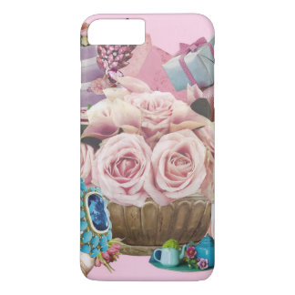 Pink Cabbage Roses with Turquoise iPhone 8 Plus/7 Plus Case