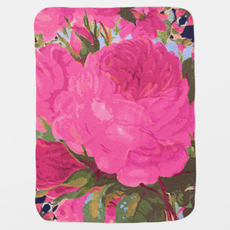 Pink Cabbage Roses Baby Blanket