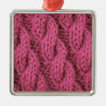 Pink cable knitting christmas ornament