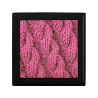 Pink cable knitting trinket box