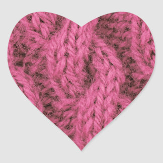 Pink cable knitting heart sticker