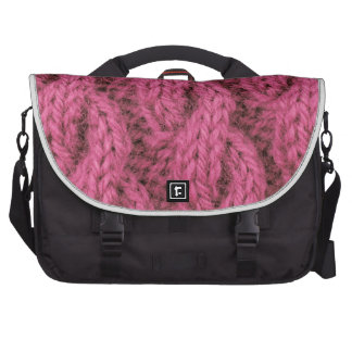 Pink cable knitting laptop bags