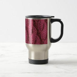 Pink cable knitting travel mug