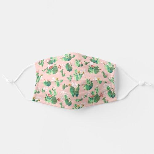 Pink Cacti Botanical Plant Pattern Cloth Face Mask
