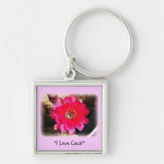 Pink Cactus Bloom Key Chains