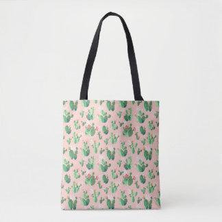 Pink Cactus Blooms Tote Bag