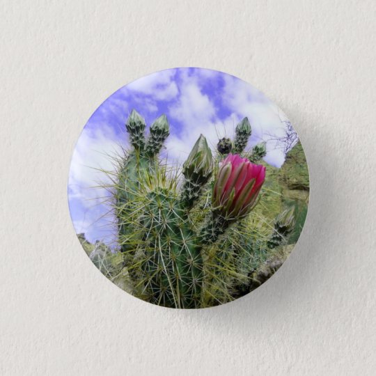 Pink Cactus Flower Button