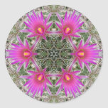 Pink Cactus Flower Round Stickers