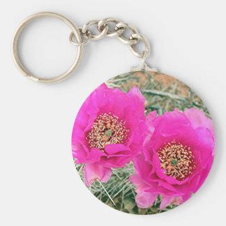 Pink Cactus flowers in bloom Key Chain