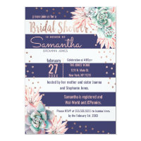 Pink Cactus Navy Stripes Rose Gold Bridal Shower Card