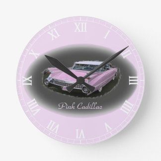 Pink Cadillac Flash Round Clock