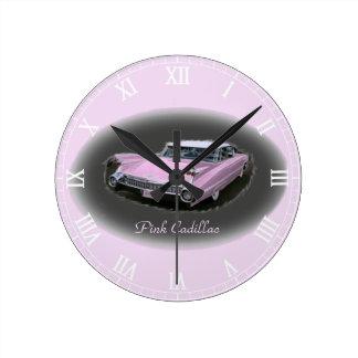 Pink Cadillac Flash Round Wall Clocks