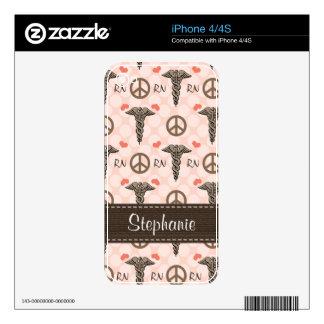 Pink Caduceus Nurse RN iPhone 4 / 4s Skin iPhone 4S Skin