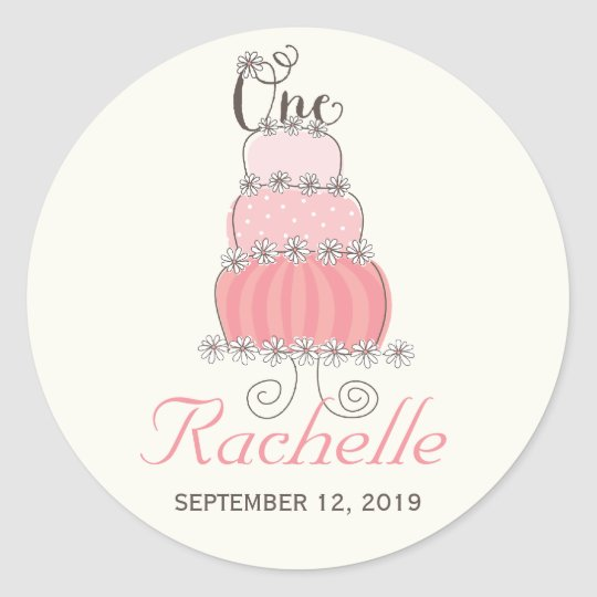 Pink Cake Baby Girl 1st Birthday Party Gift Tag