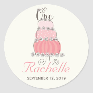 Pink Cake Baby Girl 1st Birthday Party Gift Tag Classic Round Sticker