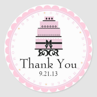 Pink Cake-Baby Shower Classic Round Sticker