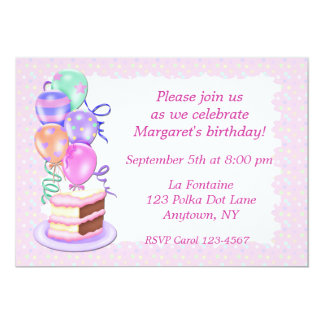 Pink Cake Balloons Party Invitation