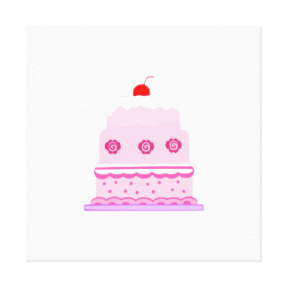 Pink cake cartoon gallery wrapped canvas