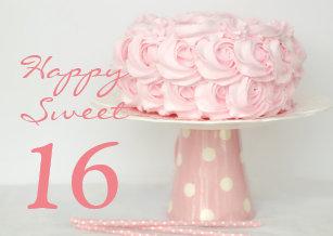 Sweet 16 birthday cards zazzle pink cake happy sweet 16 birthday greeting card m4hsunfo