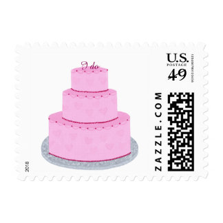 Pink Cake Hearts Custom Wedding Stamps