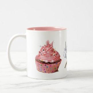 pink cake mug