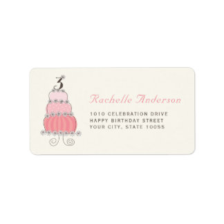 Pink Cake Number 3 Girl 3rd Birthday Party Labels