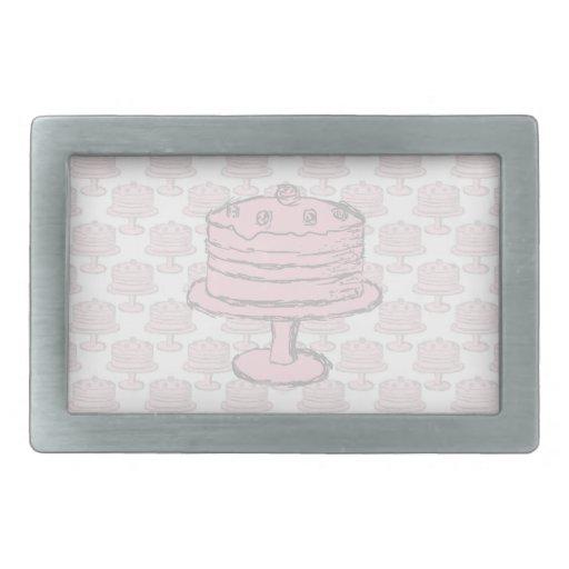 Pink Cake on Pink Cake Pattern. Rectangular Belt Buckle