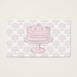 Pink Cake on Pink Cake Pattern. Business Card