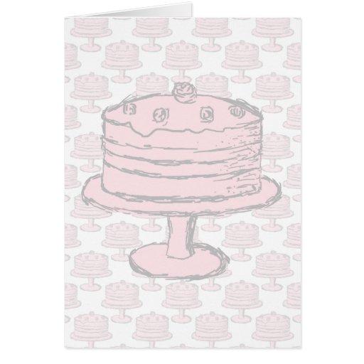 Pink Cake on Pink Cake Pattern. Greeting Card