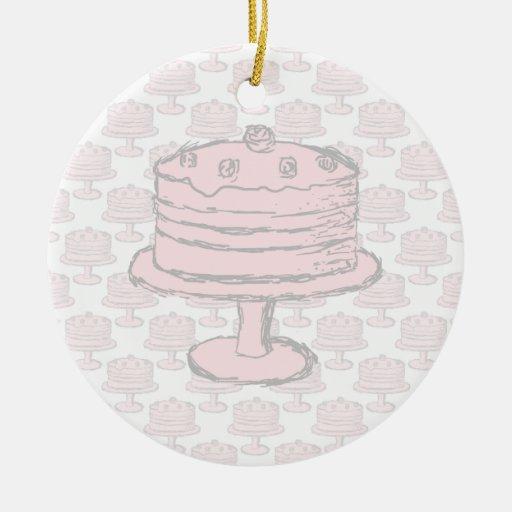 Pink Cake on Pink Cake Pattern. Ornament