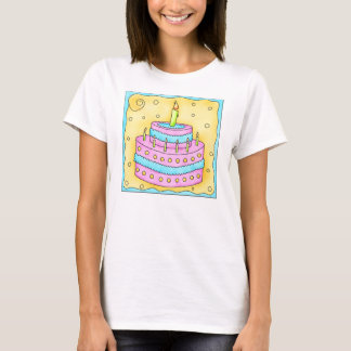 Pink Cake on Yellow Tee Shirt