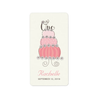 Pink Cake One Baby Girl 1st Birthday Party Labels