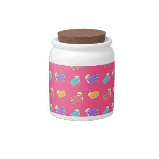 Pink cake pattern candy jars