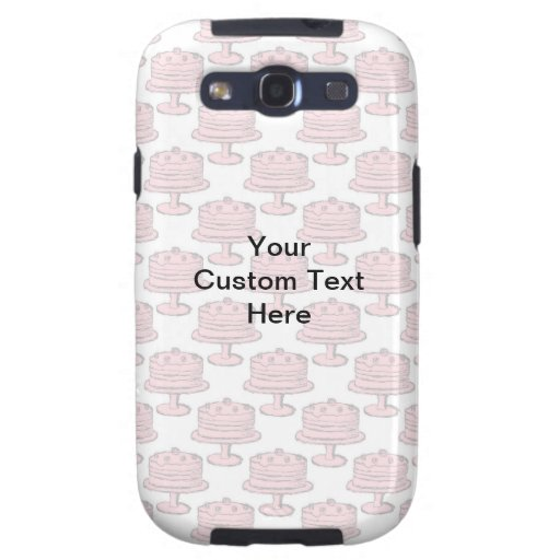 Pink Cake Pattern with Custom Text. Galaxy SIII Cases