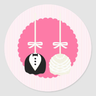 Pink Cake Pop Wedding Envelope Seals Classic Round Sticker