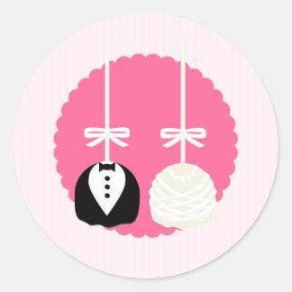 Pink Cake Pop Wedding Envelope Seals Stickers