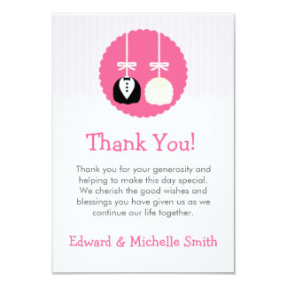 Pink Cake Pop Wedding Thank You Notes Card