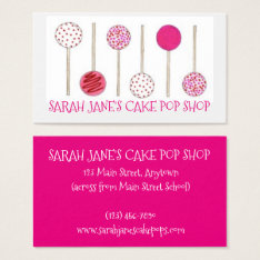 Pink Cake Pops Bakery Bake Shop Baking Pastry Food Business Card at Zazzle