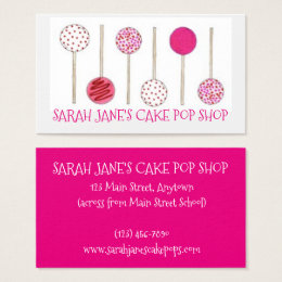 Pastry business cards templates zazzle pink cake pops bakery bake shop baking pastry food business card reheart Choice Image