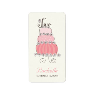 Pink Cake Two Baby Girl 2nd Birthday Party Labels