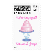 Pink Cake Wedding Engagement Announcement Postage