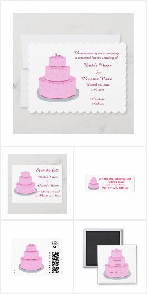 Pink Cake Wedding Invitation Set