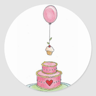 Pink Cake with Balloon and Cupcake Classic Round Sticker