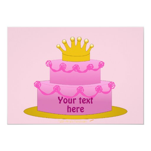 Pink Cake With Crown Birthday 5x7 Paper Invitation Card