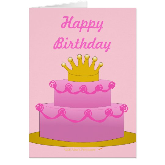 Pink Cake With Crown Birthday Blank Inside Card
