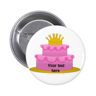Pink Cake With Crown Birthday Pinback Button