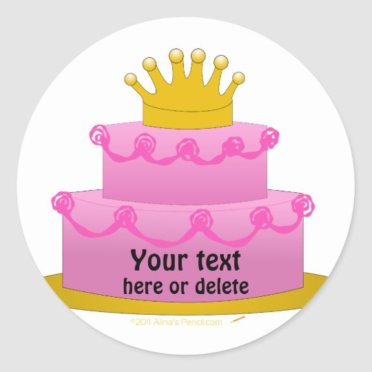 Pink Cake With Crown Birthday Classic Round Sticker